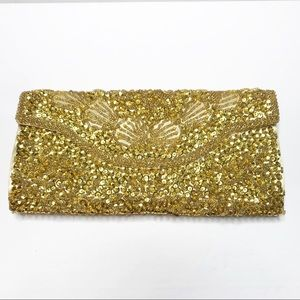 Vintage Gold Beaded Sequin Snap Close Clutch